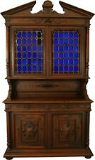 LARGE ANTIQUE FRENCH BUFFET  1900  HENRY II  COBALT BLUE STAINED GL