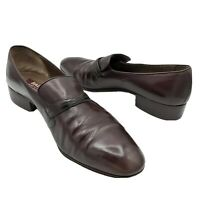Bally Agro Burgundy Leather Men's Loafers Shoes Size 10M with Shoe Bags - Italy