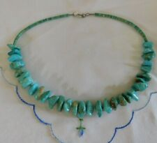 Vintage Blue Turquoise Nugent Beaded Sterling Silver Necklace