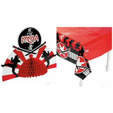 Ninja Tablecloth and Table Centerpiece Set LOT Kids Birthday Party Decorations