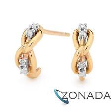 New Classic Gold Diamond Knot Little Infinite Earrings 9Ct Yellow Gold Earrings