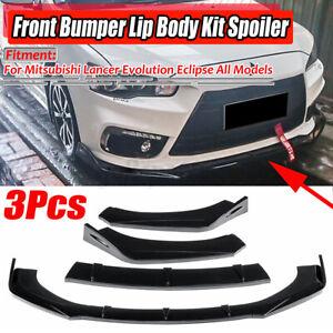 For Mitsubishi Lancer Evolution EVO X  Gloss Black Car Front Bumper Lip Splitter