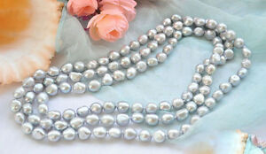 Genuine 9-10mm Natural Gray Freshwater Cultured Baroque Pearl Necklace 48''