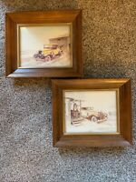 Vintage Touring Car Litho Art Prints 8x10 includes Wood Frames By C. Skibinski