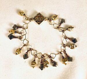 "Bracelet Labradorite Vermeil Dangles Size 7-1/4"""