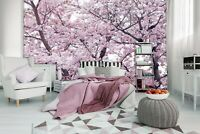 312x219cm Wall mural photo wallpaper pink flowering trees Floral + free adhesive