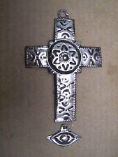 Tin Cross with Dangling Eye - Mexico