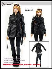 DOLLSFIGURE 1/6 Female Black Leather Suit Clothes Coat Pants Model CC0157