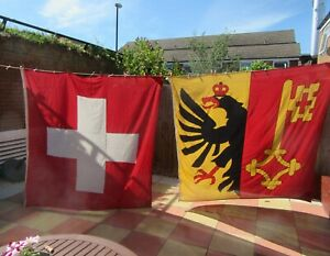 Vintage Large Swiss Flags Applique Linen , Top Quality , Very Rare.