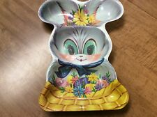 """Collectible Vintage Plastic Bunny Rabbit Easter Egg Candy Dish 13"""" x 10"""""""