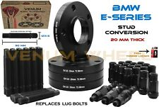 4 Pc 20MM BMW Black Hubcentric Wheel Spacers Racing Stud Conversion Fits E36 E46