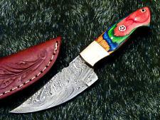 CUSTOM HAND MADE DAMASCUS SKINNING HUNTING KNIFE - FULL TANG - HARD WOOD WD-9653