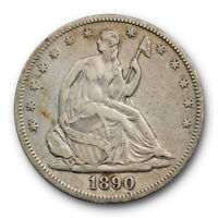 1890 50C Seated Liberty Half Dollar Very Fine to Extra Fine Key Date Low Mintage