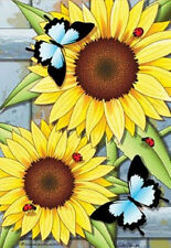 """House Flag-Sunny Days Sunflowers Butterflies Ladybugs 28""""x40"""" Flag-Spring/Summer"""
