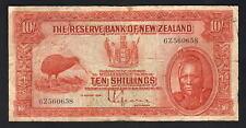 NEW ZEALAND P-154. (1934) 10 Shillings - Lefeaux.. Prefix 6Z.. VG-F