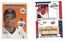 Johan Santana 2004 Absolute Memorabilia Auto (47/50) & 2000 Fleer Rookie Card
