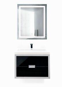 """Modern 24""""-60"""" Bathroom Vanity silver/black+LED Mirror+sink+faucet"""