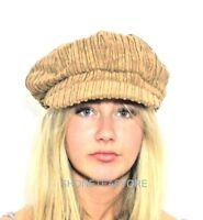 Quality BROWN Corduroy Baker Boy Hat Womens Ladies Newsboy Cap Bargain 1970s New
