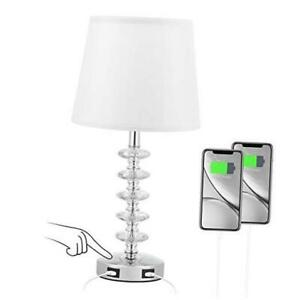 Touch USB Crystal Table Lamp, 3 Way Dimmable Bedside Lamp with Dual USB White