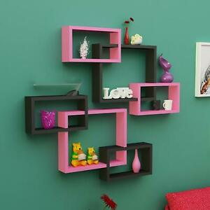 Intersecting Wooden Floating Wall Shelves Set of 6 - Black & Pink ,Home Decor