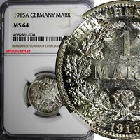 Germany-Empire Wilhelm II Silver 1915 A 1 Mark NGC MS64 Berlin Mint KM# 14