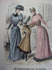 """28/ GRAVURE DE MODE """" Moniteur de la Mode Paris 1891 """".   Grand format 36x26"""