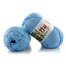 New 100% Bamboo Cotton Warm Soft Natural Knitting Light blue Wool Yarn 50g