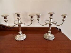 Pair candelabras Vintage 1970s Silver Plated 3 arm Candleabra Candelabra England