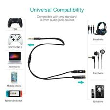 Audio Mic Headset Y-Splitter Cables Adapter TRRS to 2 TRS For iPhone Laptop USA