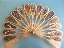 Beautiful Antique Hand Painted Wooden 9 Inches Hand Fan With Box