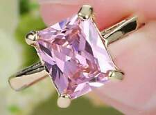Pink Sapphire HOPE Ring PRINCESS Cut 10KT Gold Plated Size 6 Band USA SELLER