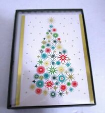 Christmas Boxed Cards White Christmas Tree Gold & Glitter Accents 16 pcs