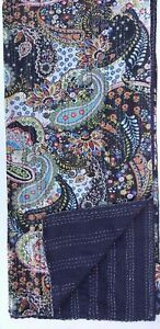 Indian Handmade Paisley Throw Kantha Quilt Reversible Bedspread Twin Blanket