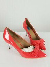 PENNY SUE Salmon Kitty Pointed Toe Synthetic Silver Heel Pumps size 7 1/2