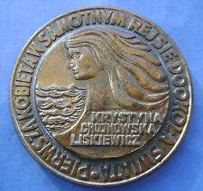 Polen - Poland medaille - penning eerste vrouw die alleen rond de wereld reist.