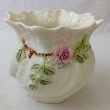 Belleek Carlingford Small Cache Pot Blue Mark Vintage Perfect Condition Boxed