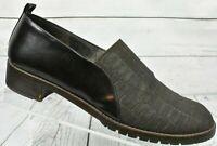 Donald J Pliner Brown Slip On Low Heels Canvas Croc Design Womens Size 8.5 M
