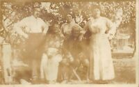 RPPC Family of 5 Not-Young Determined Folks - Unused Antique POSTCARD