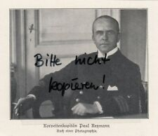 Werbung 1928, Bildnis Korvettenkapitän Paul Reymann WWI