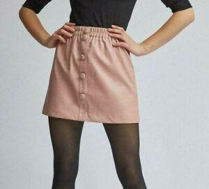 Dorothy Perkins Lola Skye Blush Pink Crocodile Faux Leather Skirt Size 12 Button