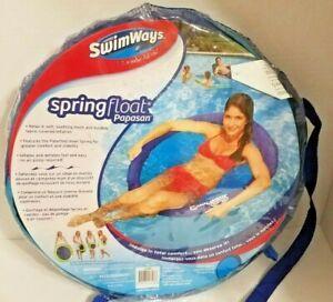 NEW SwimWays Spring Float Round Papasan - Mesh Float for Pool or Lake -Dark Blue