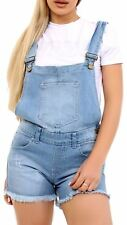 Ladies Sleeveless Summer Denim Pinafore up Knee Length Strap Dungaree Short Denim Blue UK 16