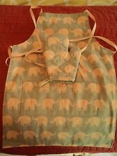 Children's LITTLE ELEPHANTS- 2 Oven Mitts & Apron, Handmade, Quilted,100% Cotton