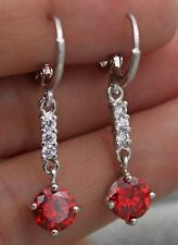 18K White Gold Filled - 7mm Round Ruby Topaz Zircon Gems Women Noble Earrings