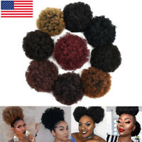 Large Afro Bun Ponytail Puff Drawstring Wrap Short Synthetic Kinky Curly Hair US