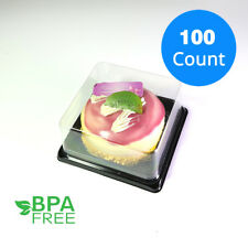 Mini Square BPA-Free Clear Plastic Black Base Mini Cake TakeOut Container 100ct