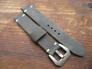 Handmade Grey / White Thick Worn Soft Leather Watchstrap 18mm