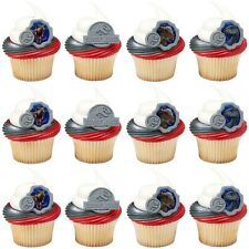 JURASSIC WORLD DINOSAUR PACK OF 12 PARTY SUPPLIES CUPCAKE CAKE RING DECORATIONS