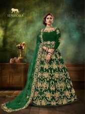 Anarkali Salwar Kameez Traje Vestido Mujer Indio Ropa de Fiesta de Boda Velvett