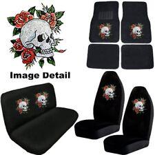 Crystal Skull w/Roses Crystal Studded Rhinestone Floor Mats Seat Covers Combo